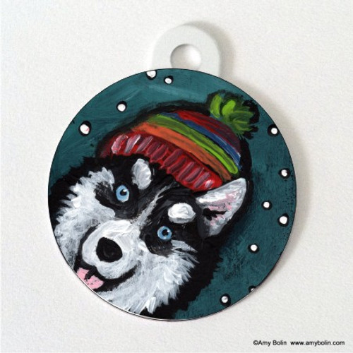 """Snowy Weather"" Siberian Husky Double Sided Pet ID Tag"