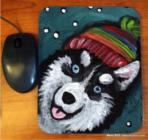 """Snowy Weather"" Siberian Husky Mouse Pad"