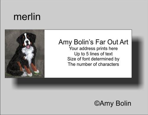 """Merlin"" Bernese Mountain Dog Address Labels"