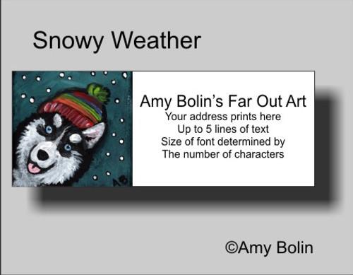 """Snowy Weather"" Siberian Husky Address Labels"