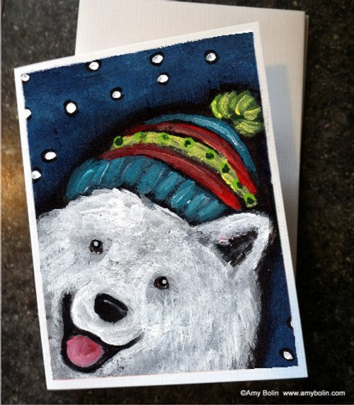 """Snowy Weather"" Samoyed Note Cards"