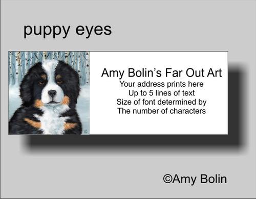 """Puppy Eyes"" Bernese Mountain Dog Address Labels"