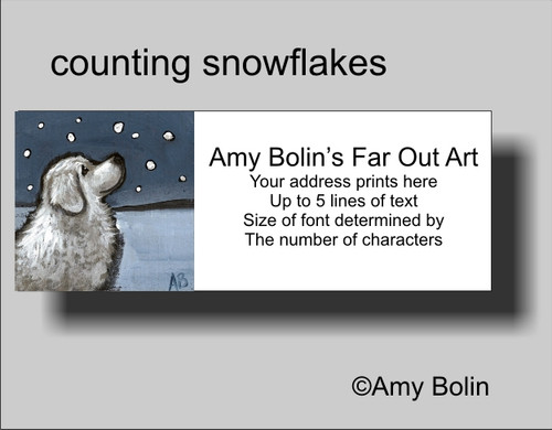 """""""Counting Snowflakes"""" Great Pyrenees Address Labels"""