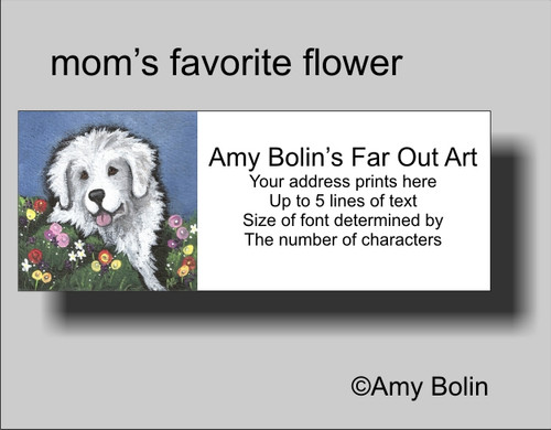 """Mom's Favorite Flower"" Great Pyrenees Address Labels"