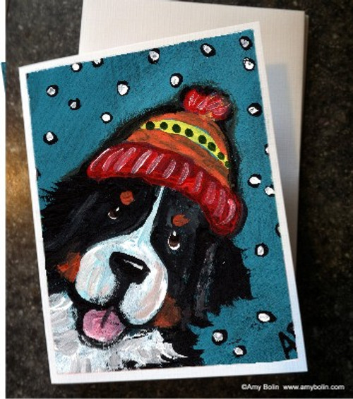"""""""Snowy Weather"""" Bernese Mountain Dog Note Cards"""