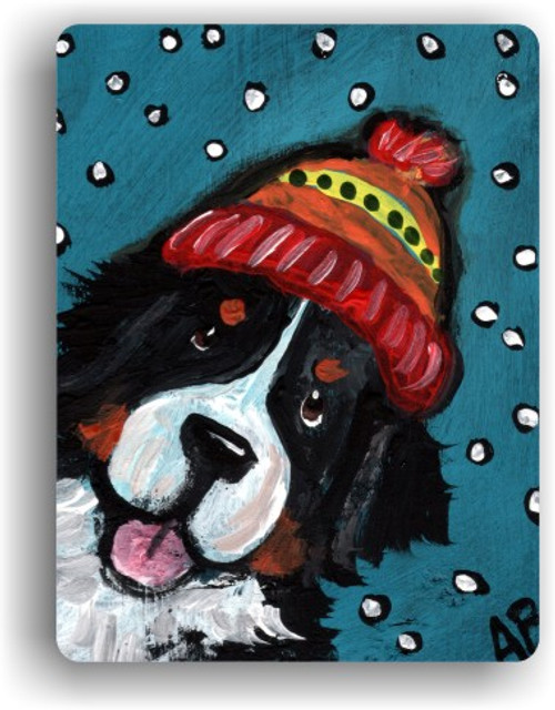 """""""Snowy Weather"""" Bernese Mountain Dog Magnet"""