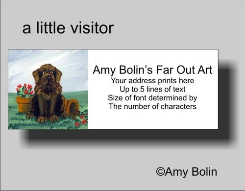 """A Little Visitor"" Brown Newfoundland Address Labels"