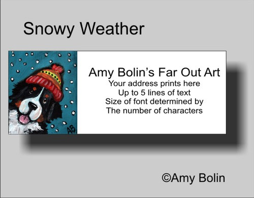 """""""Snowy Weather"""" Bernese Mountain Dog Address Labels"""