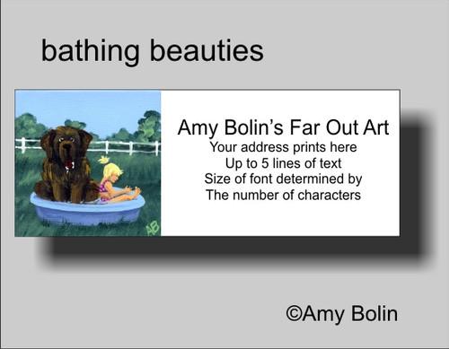 """Bathing Beauties"" Brown Newfoundland Address Labels"