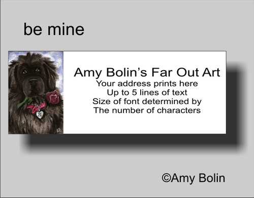 """Be Mine"" Black Newfoundland Address Labels"