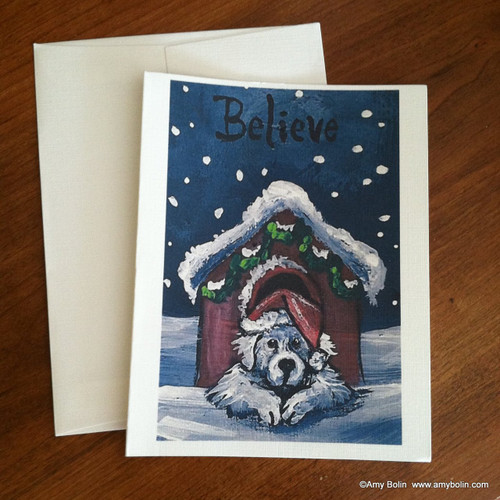 """""""Christmas: Believe"""" Great Pyrenees Note Cards"""