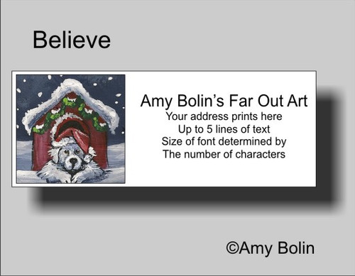 """""""Christmas: Believe"""" Great Pyrenees Address Labels"""