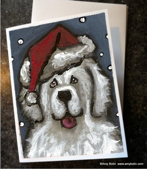 """""""Christmas: Shaggy Claws"""" Great Pyrenees Note Cards"""