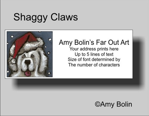 """""""Christmas: Shaggy Claws"""" Great Pyrenees Address Labels"""
