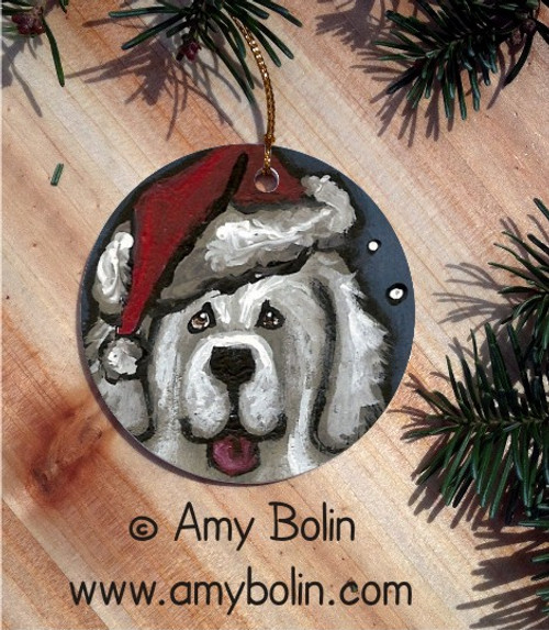 """""""Shaggy Claws"""" Great Pyrenees Ceramic Ornament Round"""