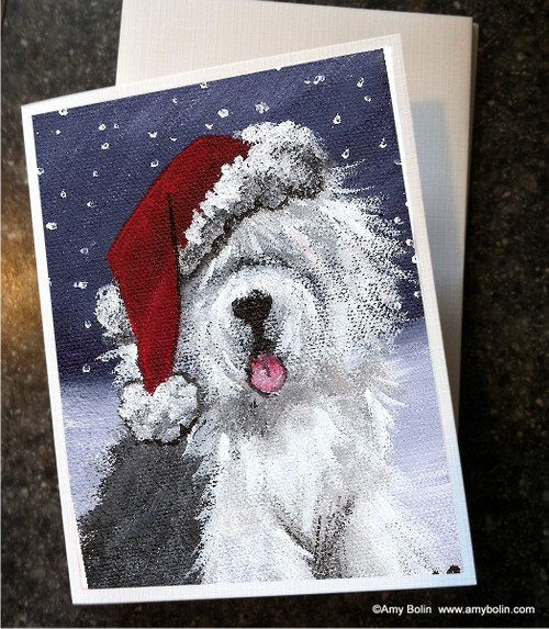 """""""Christmas: Shaggy Claws"""" Old English Sheepdog Note Cards"""
