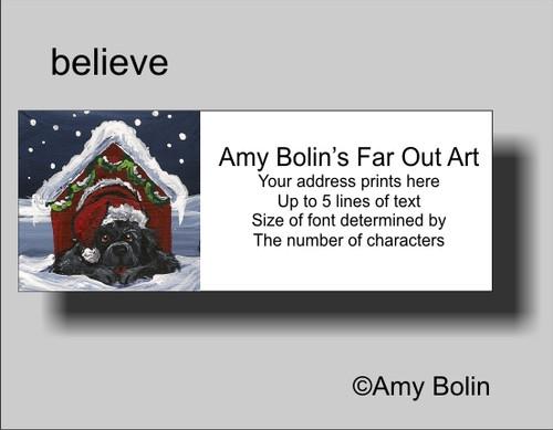 """Christmas: Believe"" Black Newfoundland Address Labels"