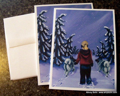 """A Snowy Walk"" Norwegain Elkhound Note Cards"