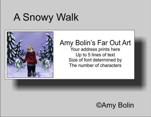 """A Snowy Walk"" Norwegain Elkhound Address Labels"