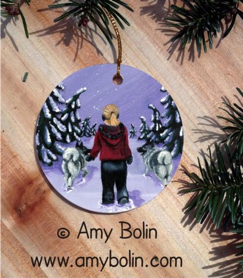 """A Snowy Walk"" Norwegian Elkhound Ceramic Ornament Round"