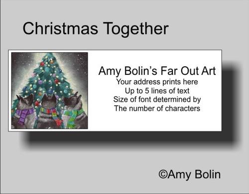 """""""Christmas Together"""" Norwegian Elkhound Address Labels"""