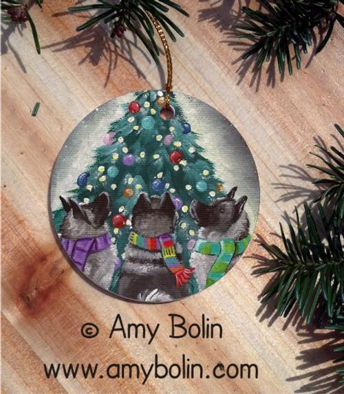 CERAMIC ORNAMENT · CHRISTMAS TOGETHER · NORWEGIAN ELKHOUND · AMY BOLIN