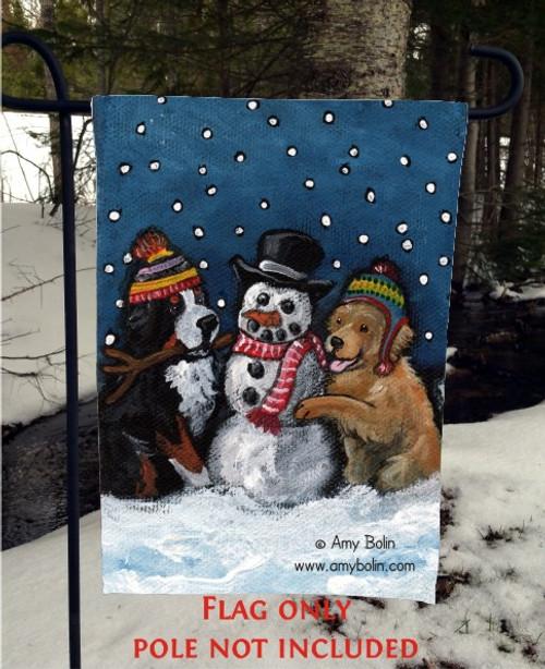 GARDEN FLAG · FRIENDS OF SNOW NEED LOVE TO GROW · BERNESE MOUNTAIN DOG, GOLDEN RETRIEVER · AMY BOLIN