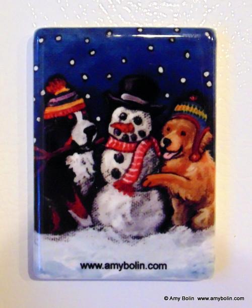 """Friends Of Snow Need Love To Grow"" Bernese Mountain Dog, Golden Retriever Magnet"