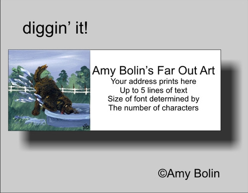 """Diggin' It"" Brown Newfoundland Address Labels"