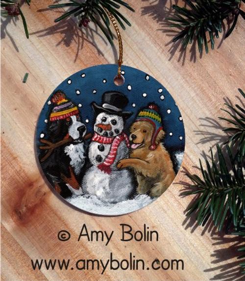 """Friends Of Snow"" Bernese Mountain Dog & Golden Retriever Ceramic Ornament Round"