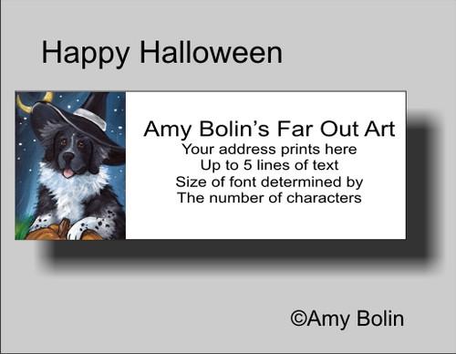 """""""Halloween: Happy Halloween"""" Landseer Newfoundland Address Labels"""