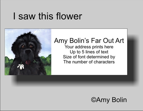 """""""I Saw This Flower & Thought Of You"""" Black Newfoundland Address Labels"""