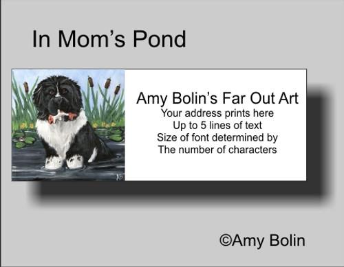 """""""In Mom's Pond"""" Landseer Newfoundland Address Labels"""