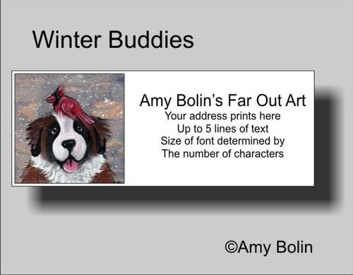 """""""Winter Buddies"""" Saint Bernard Address Labels"""