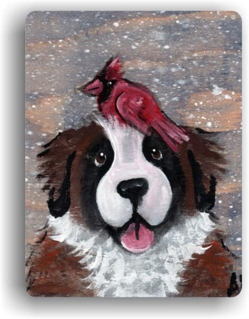 """""""Winter Buddies"""" Saint Bernard & Cardinal Magnet"""