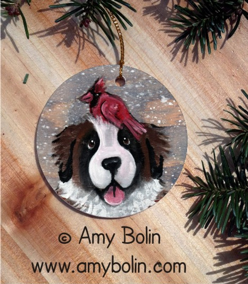 """Winter Buddies"" Saint Bernard & Cardinal Ceramic Ornament Round"