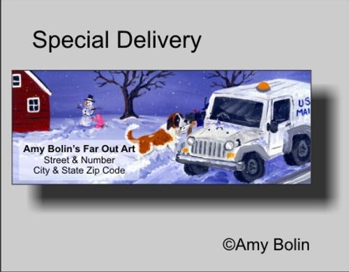 """Christmas: Special Delivery"" Saint Bernard Address Labels"