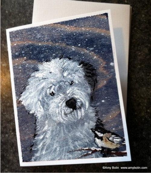 """""""Winter Buddies"""" Old English Sheepdog Note cards"""