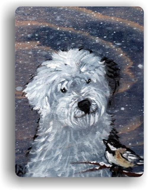 """Winter Buddies"" Old English Sheepdog & Chickadee Magnet"