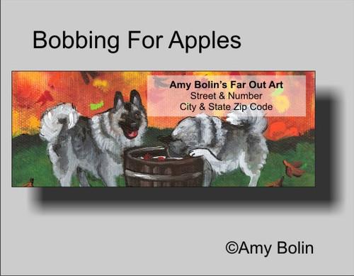 """Bobbing For Apples"" Norwegian Elkhound Address Labels"