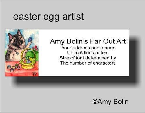 """""""Easter Egg Artist"""" Norwegian Elkhound Address Labels"""