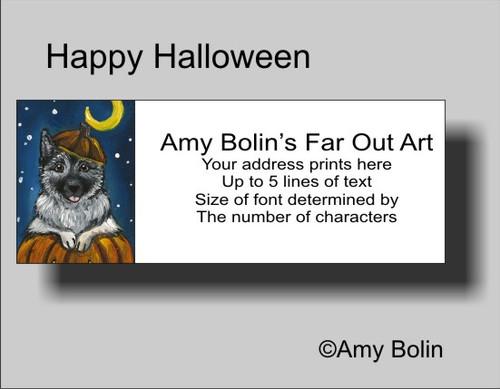 """""""Halloween: Happy Howloween"""" Norwegian Elkhound Address Labels"""