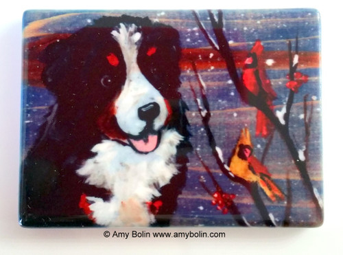 """""""Winter Buddies"""" Bernese Mountain Dog & Cardinals Magnet"""