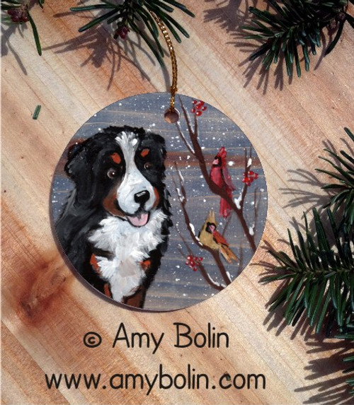 """Winter Buddies"" Bernese Mountain Dog & Cardinals Ceramic Ornament Round"