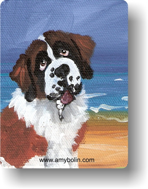 """""""A Day At The Beach"""" Saint Bernard Magnet"""