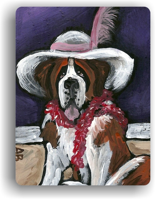 """All Dressed Up With Nowhere To Go"" Saint Bernard Magnet"