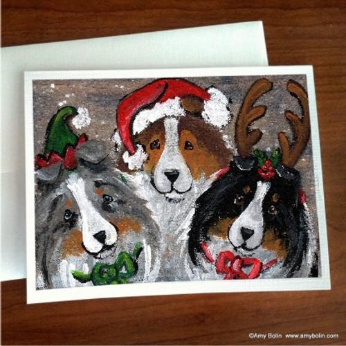 """Christmas Buddies"" Blue Merle, Sable, Tri Color Shetland Sheepdog Note Cards"