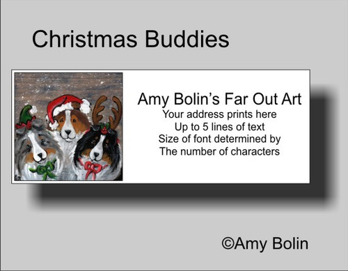 """Christmas Buddies"" Blue Merle, Sable, Tri Color Shetland Sheepdog Address Labels"