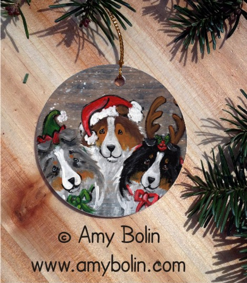 """Christmas Buddies"" Blue Merle, Sable & Tri Color Shetland Sheepdog Ceramic Ornament Round"