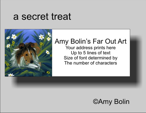 """A Secret Treat"" Sable Shetland Sheepdog Address Labels"